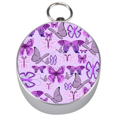 Purple Awareness Butterflies Silver Compass by FunWithFibro