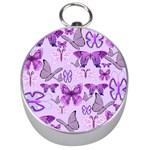 Purple Awareness Butterflies Silver Compass