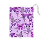 Purple Awareness Butterflies Drawstring Pouch (Large)