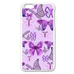 Purple Awareness Butterflies Apple iPhone 6 Plus Enamel White Case