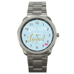 You Are Loved Sport Metal Watch by Kathrinlegg