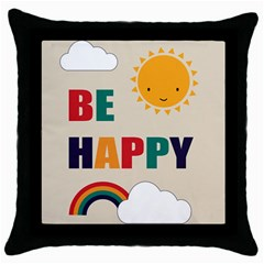 Be Happy Black Throw Pillow Case by Kathrinlegg