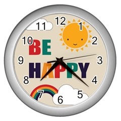 Be Happy Wall Clock (silver) by Kathrinlegg