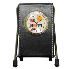 Be Happy Stationery Holder Clock by Kathrinlegg