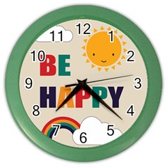 Be Happy Wall Clock (color) by Kathrinlegg
