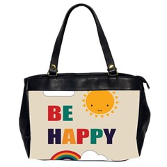 Be Happy Oversize Office Handbag (two Sides) by Kathrinlegg