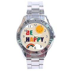 Be Happy Stainless Steel Watch by Kathrinlegg