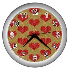 Sparkle Heart  Wall Clock (silver) by Kathrinlegg