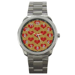 Sparkle Heart  Sport Metal Watch by Kathrinlegg