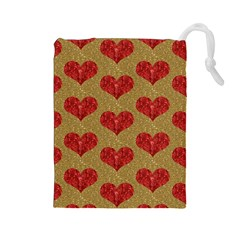 Sparkle Heart  Drawstring Pouch (large) by Kathrinlegg