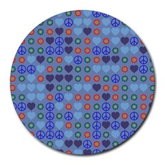 Peace and love Round Mousepad by LalyLauraFLM
