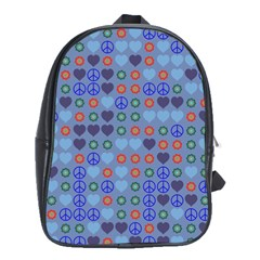 Peace And Love School Bag (xl) by LalyLauraFLM