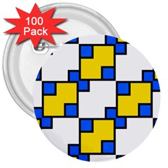 Yellow and blue squares pattern 3  Button (100 pack) by LalyLauraFLM