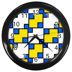 Yellow And Blue Squares Pattern Wall Clock (black) by LalyLauraFLM