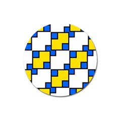 Yellow And Blue Squares Pattern Magnet 3  (round) by LalyLauraFLM