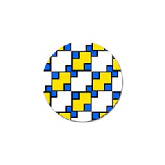 Yellow And Blue Squares Pattern Golf Ball Marker (4 Pack) by LalyLauraFLM