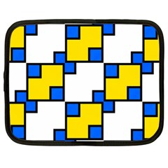 Yellow And Blue Squares Pattern Netbook Case (xl) by LalyLauraFLM