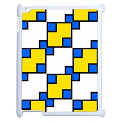 Yellow And Blue Squares Pattern Apple Ipad 2 Case (white) by LalyLauraFLM