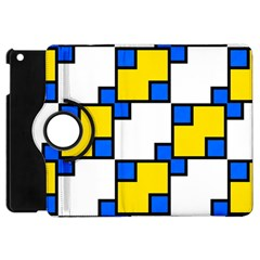 Yellow And Blue Squares Pattern Apple Ipad Mini Flip 360 Case by LalyLauraFLM