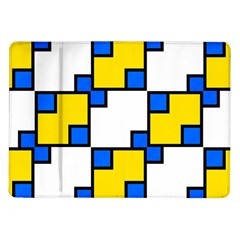 Yellow And Blue Squares Pattern Samsung Galaxy Tab 10 1  P7500 Flip Case by LalyLauraFLM