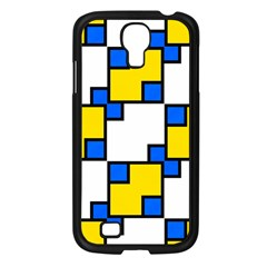 Yellow And Blue Squares Pattern Samsung Galaxy S4 I9500/ I9505 Case (black) by LalyLauraFLM