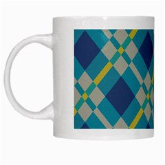 Squares And Stripes Pattern White Mug by LalyLauraFLM