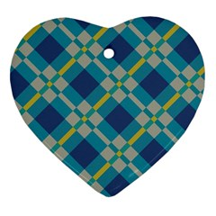 Squares And Stripes Pattern Heart Ornament (two Sides) by LalyLauraFLM