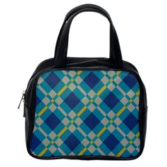 Squares And Stripes Pattern Classic Handbag (one Side) by LalyLauraFLM