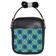Squares And Stripes Pattern Girls Sling Bag by LalyLauraFLM