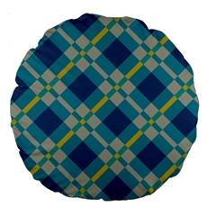Squares And Stripes Pattern Large 18  Premium Round Cushion  by LalyLauraFLM