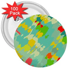 Smudged Shapes 3  Button (100 Pack) by LalyLauraFLM