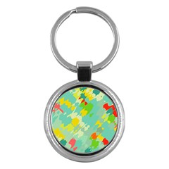 Smudged shapes Key Chain (Round) by LalyLauraFLM