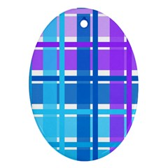 Blue & Purple Gingham Plaid Oval Ornament (two Sides) by StuffOrSomething