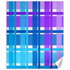 Blue & Purple Gingham Plaid Canvas 8  X 10  (unframed) by StuffOrSomething