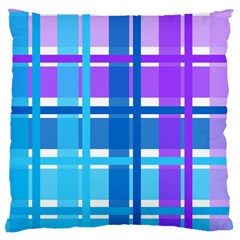 Blue & Purple Gingham Plaid Large Cushion Case (two Sided)  by StuffOrSomething