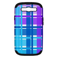 Blue & Purple Gingham Plaid Samsung Galaxy S Iii Hardshell Case (pc+silicone) by StuffOrSomething