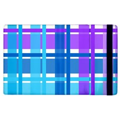 Blue & Purple Gingham Plaid Apple Ipad 3/4 Flip Case by StuffOrSomething