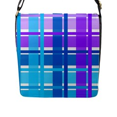Blue & Purple Gingham Plaid Flap Closure Messenger Bag (large) by StuffOrSomething