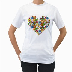 Flowerheart Women s T-Shirt (White)  by Groovy