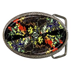 Floral Collage Print Belt Buckle (Oval) by dflcprintsclothing