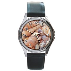 Sea Shells Round Leather Watch (silver Rim) by yoursparklingshop