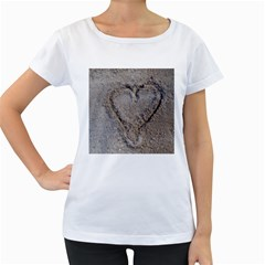 Heart In The Sand Women s Loose Fit T Shirt (white) by yoursparklingshop