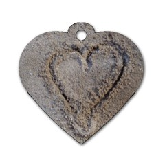 Heart In The Sand Dog Tag Heart (one Sided)  by yoursparklingshop