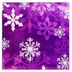 Purple  Snowflake Large Satin Scarf - Large Satin Scarf (Square)