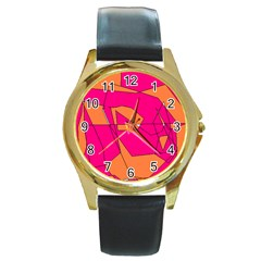 Red Orange 5000 Round Leather Watch (gold Rim)  by yoursparklingshop