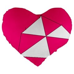 Pink White Art Kids 7000 Large 19  Premium Flano Heart Shape Cushion by yoursparklingshop