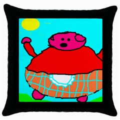 Sweet Pig Knoremans, Art By Kids Black Throw Pillow Case by yoursparklingshop