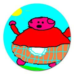Sweet Pig Knoremans, Art By Kids Magnet 5  (round) by yoursparklingshop