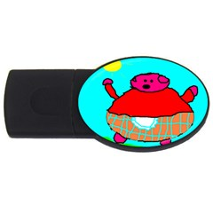 Sweet Pig Knoremans, Art By Kids 2gb Usb Flash Drive (oval) by yoursparklingshop