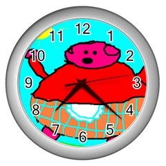 Sweet Pig Knoremans, Art By Kids Wall Clock (silver) by yoursparklingshop